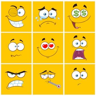 Żółte cartoon kwadratowe emotikony z zestawem wyrazowym