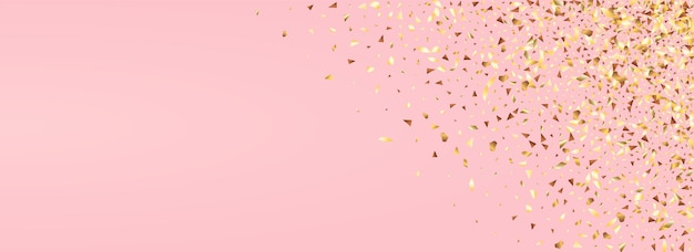 Żółte cekiny dla nowożeńców panoramiczny różowym tle. papierowy blichtr wzór. bogata pocztówka ze złotym pluskiem. folia jasna ilustracja.