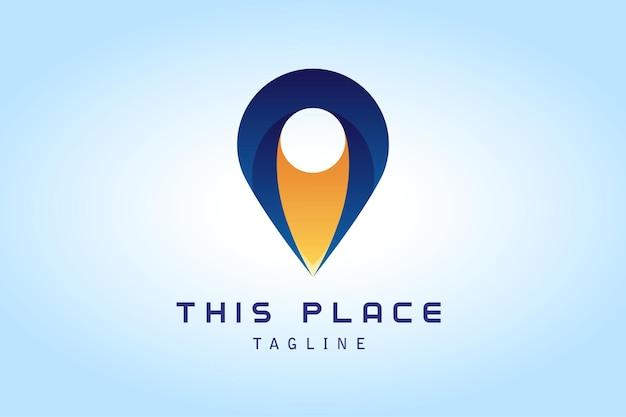 Żółte ciemnoniebieskie logo gradientowe pin map pin