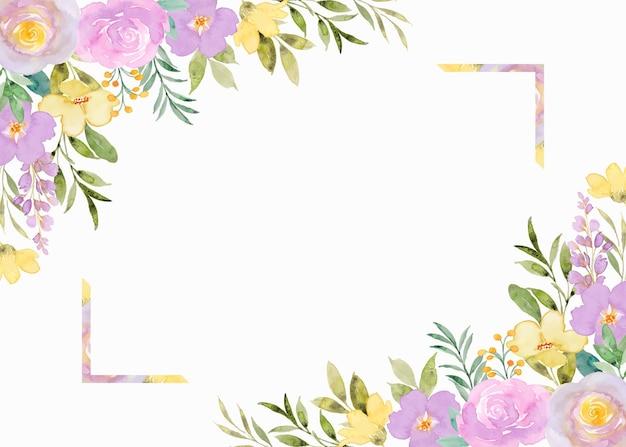Żółte fioletowe kwieciste tło ramki z akwarelą