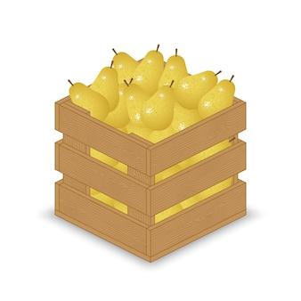 Żółte gruszki w drewnianej skrzyni