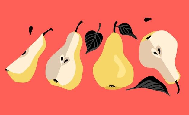 Żółte gruszki z czarnymi liśćmi gruszki w nowoczesnym stylu kreskówek