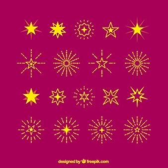 Żółte gwiazdy i sunbursts