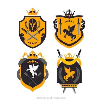 Żółte i czarne emblematy rycerzy