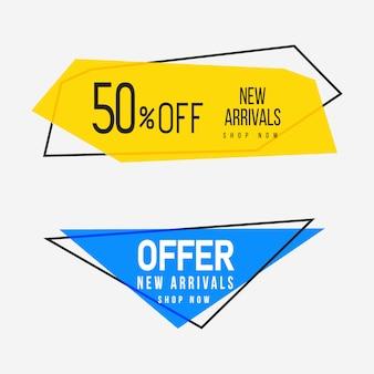 Żółte i niebieskie geometryczne banery sprzedażowe z uniwersalną przestrzenią tekstową