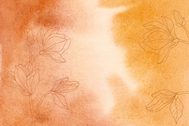 Żółte i pomarańczowe tło akwarela z ręcznie rysowane kwiaty