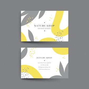 Żółte i szare abstrakcyjne wizytówki