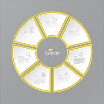 Żółte i szare kolory infografiki koło z ikonami cienkich linii.