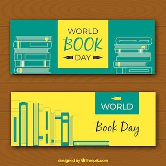 Żółte i zielone sztandary dzień książki