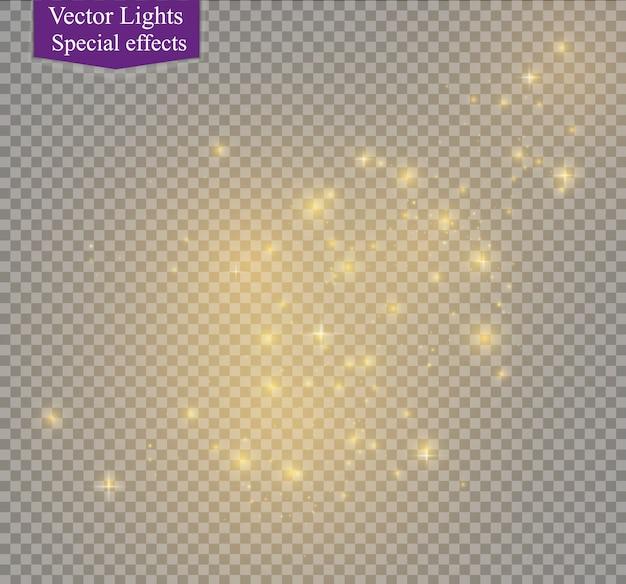 Żółte iskry i złote gwiazdy błyszczą specjalnym efektem świetlnym. błyszczy na przezroczystym tle.