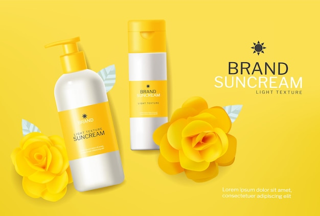 Żółte kosmetyki balsam do opalania wektor realistyczne. makiety lokowania produktu