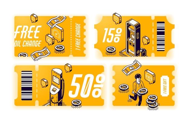Żółte kupony na bezpłatną wymianę oleju, vouchery z prezentem lub rabat na serwis samochodowy. zestaw certyfikatów z izometryczną ilustracją stacji benzynowej. bilety z ofertą na konserwację pojazdów