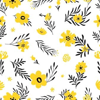 Żółte kwiatki. doodle tło wiosna z kwiatowymi elementami.