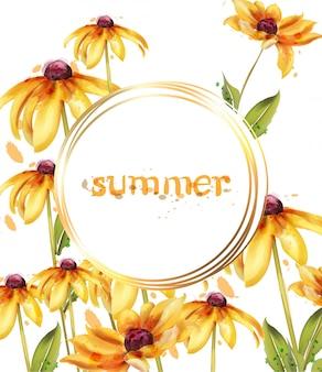 Żółte kwiaty akwarela ramki