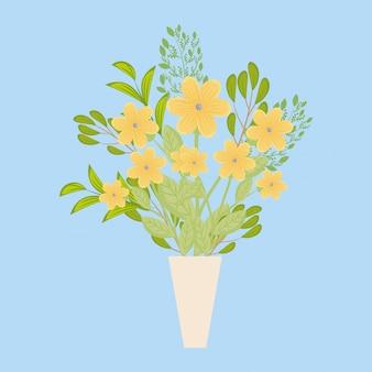 Żółte kwiaty z liśćmi wewnątrz wazonu