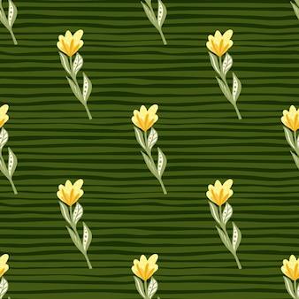 Żółte kwiaty z wzorem liści na zielonym tle w paski