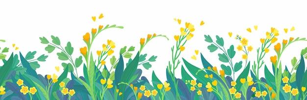 Żółte kwieciste poziome tło wiosenne kwiaty