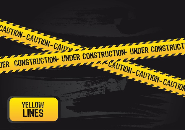 Żółte linie z tekstem pod budowę wektor grunge