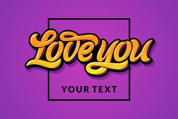 Żółte litery kocham cię z kwadratową ramką na liliowym tle. na ilustracji znajduje się pole na twój tekst. ilustracja na zaproszenie na ślub, kartkę z życzeniami, baner, ulotkę