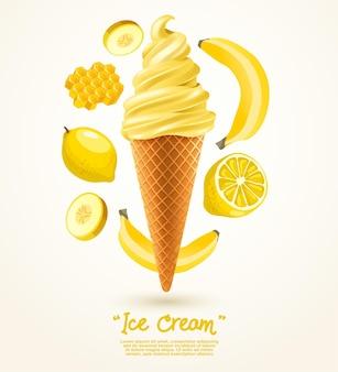 Żółte lody miękkie serw