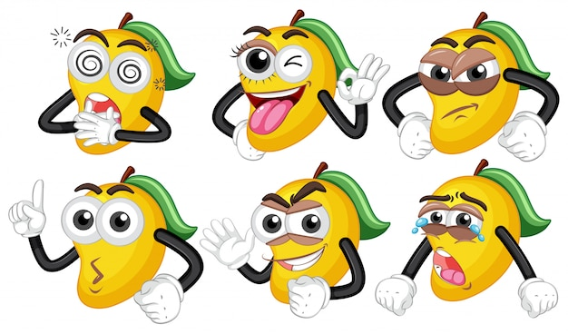 Żółte mango z sześcioma różnymi twarzami
