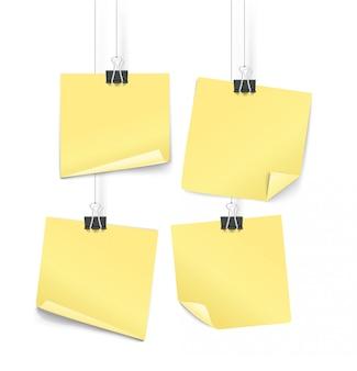 Żółte naklejki papier na ilustracji wektorowych haki.