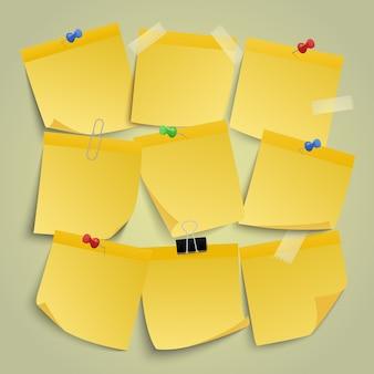 Żółte notatki papierowe. notatki z notatkami, przypomnij lepki papier biznesowy, zawiadomienie o przypinaniu ilustracji zestaw ikon. biuro notatek z pinezką, poczta lepka żółta