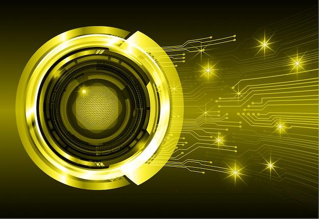 Żółte oko cyber obwodu przyszłości technologii koncepcja tło