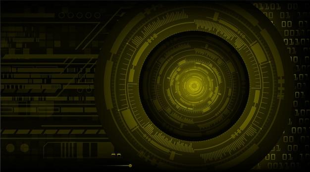 Żółte oko cyber obwodu technologii przyszłości koncepcja tło