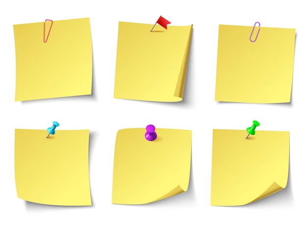 Żółte papierowe notatki. zestaw naklejek na notatki z góry