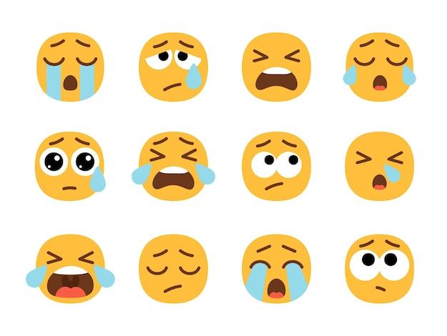 Żółte płaczące twarze emoji.