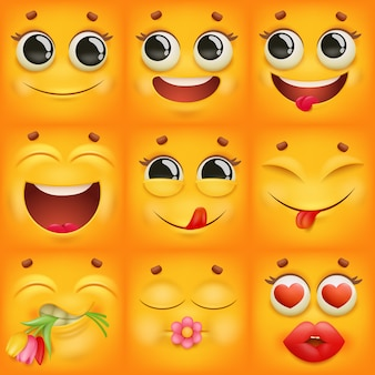Żółte postacie z kreskówek emoji w różnych emocjach.