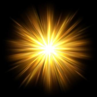 Żółte promienie słoneczne efekt świecącego światła promieniste złote promienie i ciepła nakładka