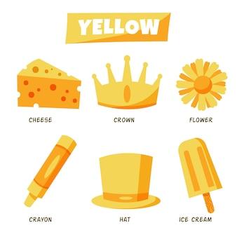 Żółte przedmioty i słownictwo ustawione w języku angielskim