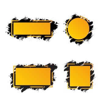Żółte ramki z czarnymi pociągnięciami pędzla dla tekstu, banery o różnych kształtach
