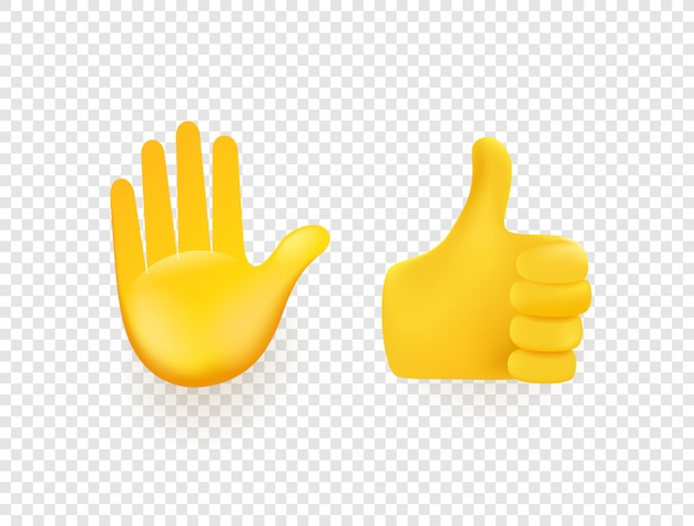 Żółte ręce 3d na białym tle