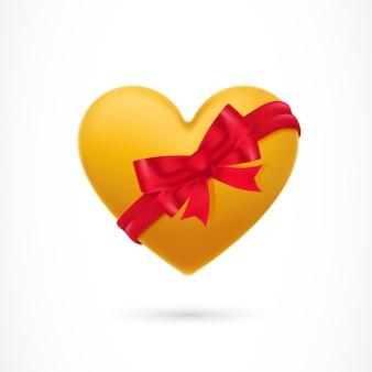 Żółte serce pokryte wstążką