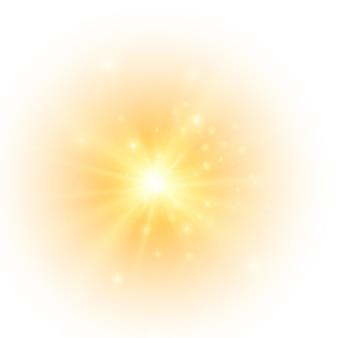 Żółte słońce błysnęło miękką poświatą bez odchodzących promieni gwiazda rozbłysła iskierkami