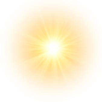 Żółte słońce rozbłyskuje miękką poświatą bez odchodzących promieni gwiazda rozbłysła iskierkami