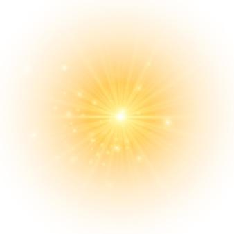 Żółte Słońce Rozbłyskuje Miękką Poświatą Bez Odchodzących Promieni Gwiazda Rozbłysła Iskierkami Premium Wektorów