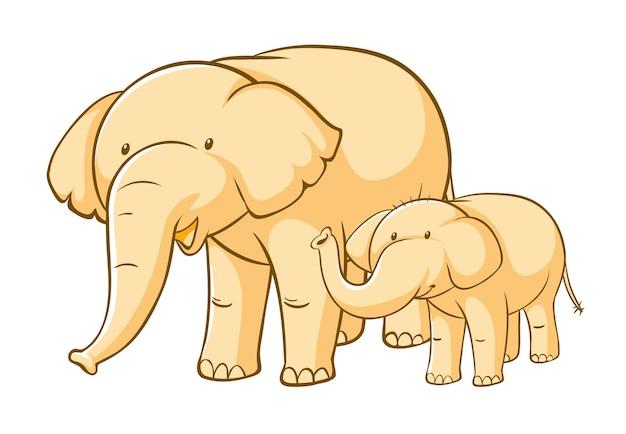 Żółte słonie na białym tle