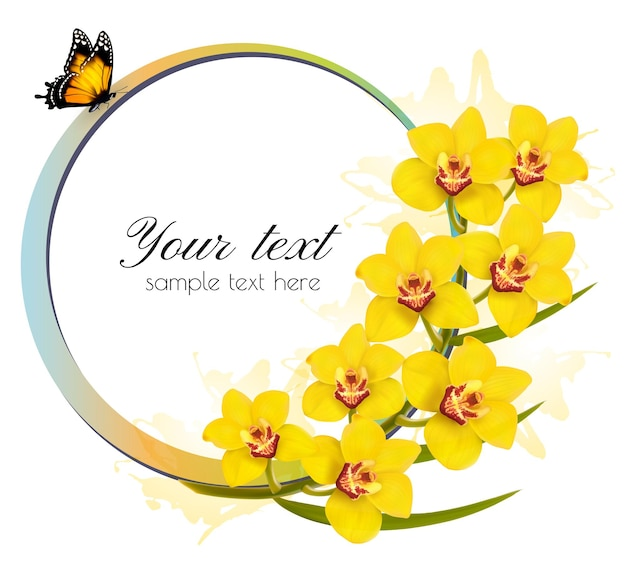 Żółte storczyki transparent z motylem. wektor.
