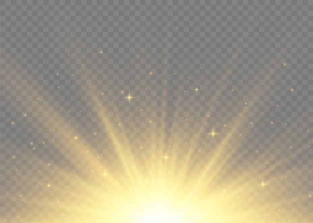 Żółte świecące światła promienie słoneczne. błysk słońca z promieniami i reflektorem. gwiazda wybuchła blaskiem. specjalne efekty świetlne na przezroczystym tle. ilustracja,.