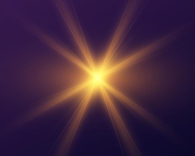 Żółte świecące światło. jasna gwiazda.