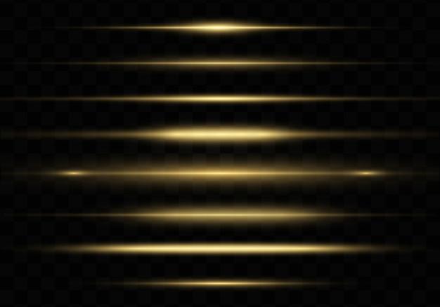 Żółte świecące światło, pakiet odblasków poziomych obiektywów