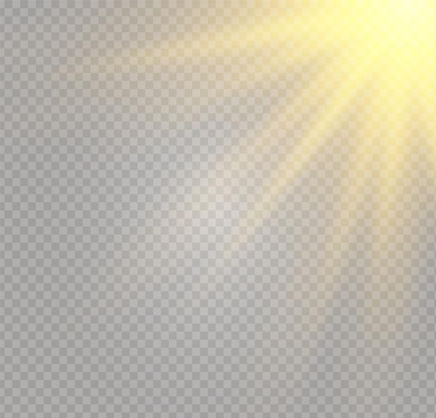 Żółte świecące światło serii wybuch na przezroczystym tle. ilustracja dekoracja efekt świetlny z promieniem. jasna gwiazda. półprzezroczyste błyszczące słońce, jasny blask. wyśrodkuj żywy błysk
