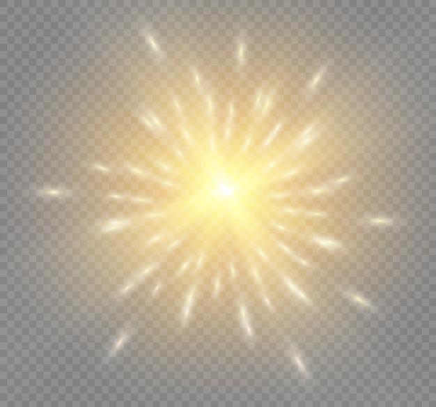 Żółte świecące światło wybucha na przezroczystym tle. lśniące magiczne cząsteczki kurzu. jasna gwiazda. przezroczyste świecące słońce, jasny błysk. błyszczy. aby wyśrodkować jasny błysk.