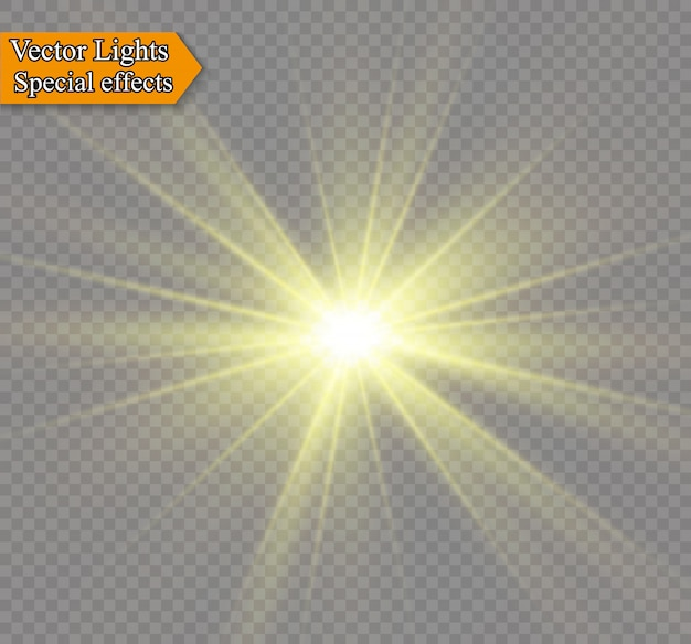 Żółte świecące światło wybucha na przezroczystym tle. lśniące magiczne cząsteczki pyłu. jasna gwiazda. przezroczyste świecące słońce, jasny błysk. błyszczy