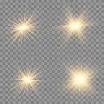 Żółte świecące światło wybucha na przezroczystym tle