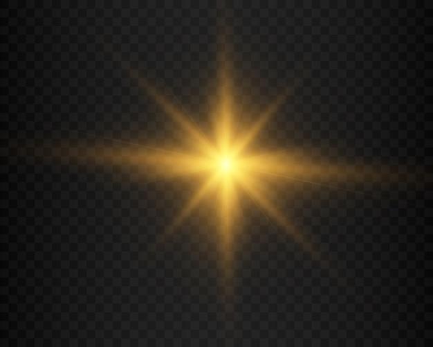 Żółte świecące światło wybuchające z przezroczystym.